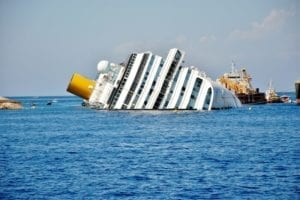 cruise ship overturned in the middle of the ocean