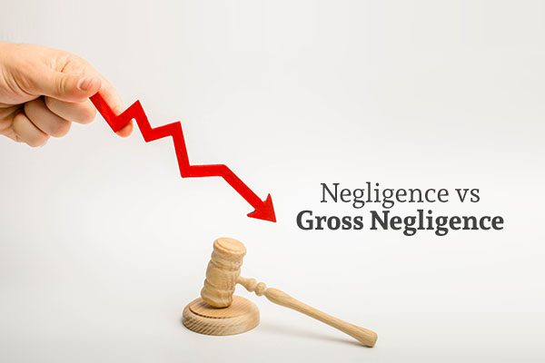A gavel, a hand holding a red arrow progressively decreasing, and the words negligence vs gross negligence