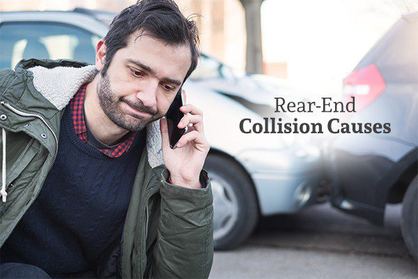 A man looking upset is on the phone with a rear end collision in the background with the words rear-end collision causes