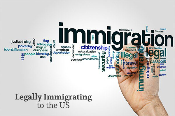 A handwriting words related to immigration.