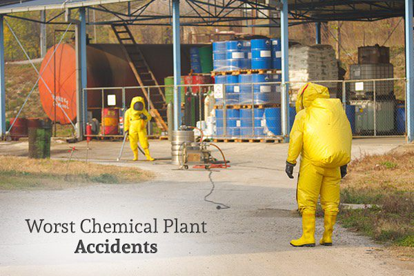 Two people wearing hazmat suits are working in a chemical plant, with the words, worst chemical plant accidents.