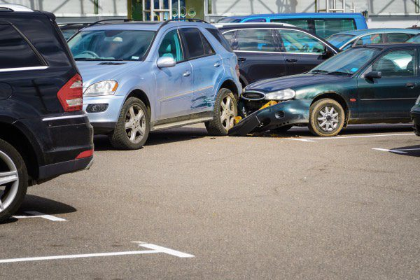 A rear-end collision in a parking lot.