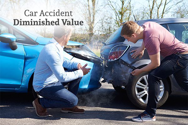 Two gentlemen checking the damage of a rear-end collision with the words, car accident diminished value.