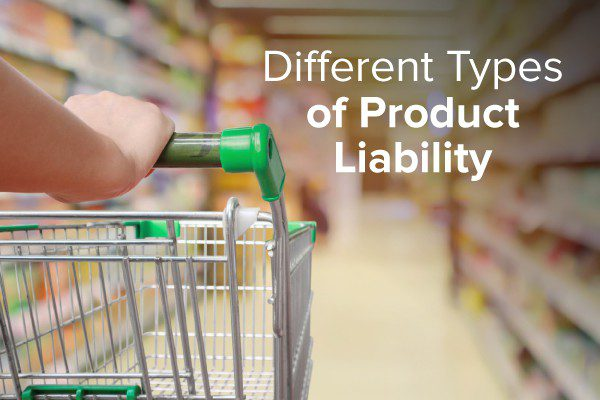 A person pushing a shopping cart with the words, different types of product liability