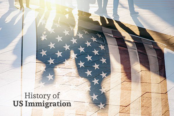 A flag with the silhouette of people in it with the words, History of US Immigration.