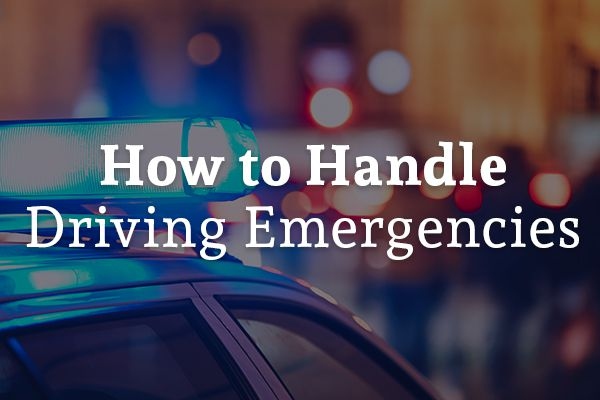 A police car at the scene of an accident, with the words, how to handle driving emergencies.