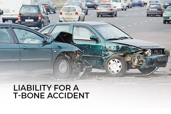 A t-bone accident with the words, liability for a t-bone accident.