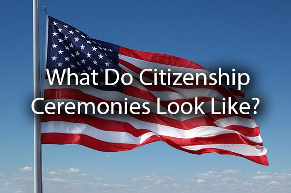 "An Amrican flag with the words, ""what do citizenship ceremonies look like?"""