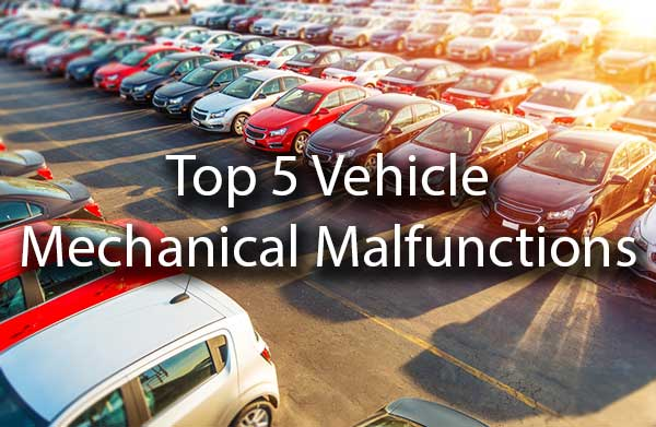 "Cars in a lot with the words, ""top 5 vehicles mechanical malfunctions."""