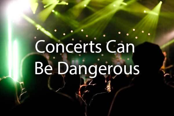 "A group of people at a concert with the words, ""Concerts can be dangerous."""