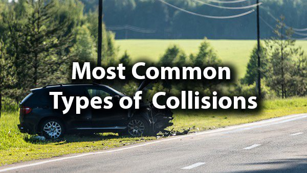 "A car that has run off the side of the road with the words, ""most common types of collisions."""