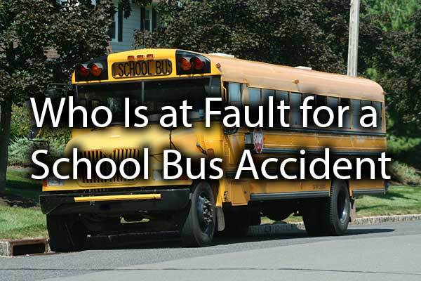 "A school bus with the words, ""who is at fault for a school bus accident."""