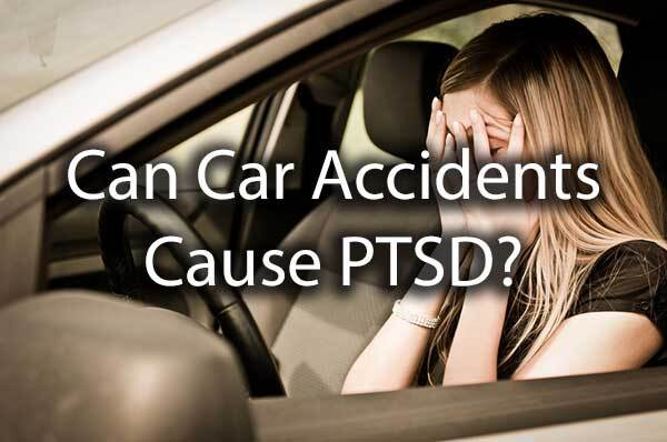 "A lady holding her head in the car with the words, ""can car accidents cause PTSD?"""