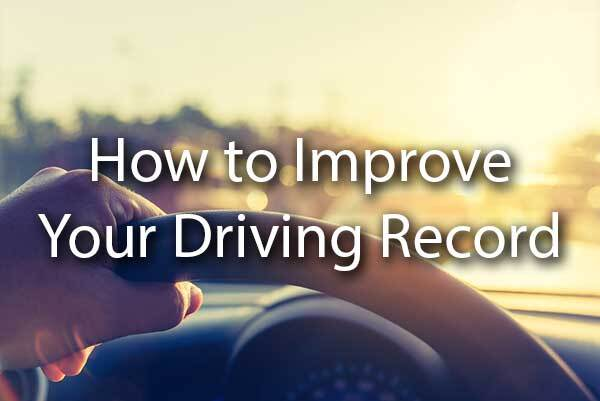 "A person driving into the sunset with the words, ""how to improve your driving record."""