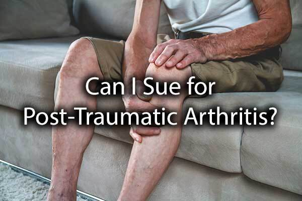 "A gentleman is holding his knee with the words, ""can I sue for post-traumatic arthritis?"""