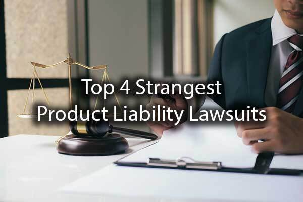 "A lawyer going over paperwork with a scale nearby and the words, ""top 4 strangest product liability lawsuits."""