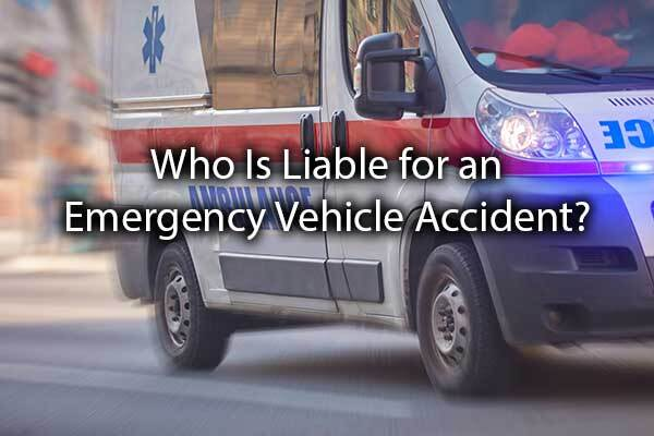 "An ambulance with driving down the streets with the words, ""Who Is Liable for an Emergency Vehicle Accident?"""