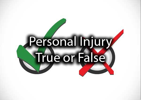 "A check and an X with the words, ""personal injury true or false."