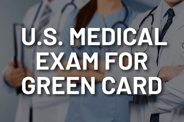 """A group of doctors with the words, """"U.S. Medical Exam for Green Card."""""""