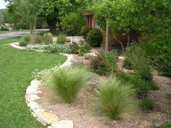 Residential front yard with native landscaping