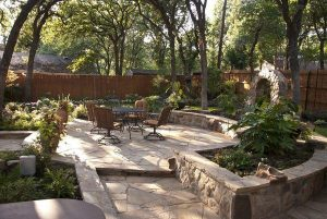 Renovated patio and deck with new landscaping