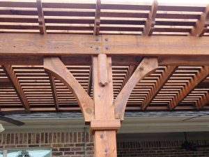 up close of wooden pergola
