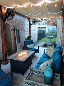 Back patio with seating and fire pit