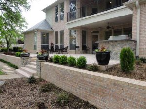 Huge brick retaining walls