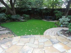Backyard with stone pathway and patio