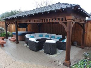 Pergola covering seating area