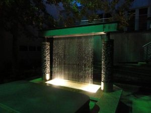 Rainfall structure with lights