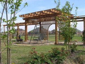 Beautiful arbor on a backyard patio
