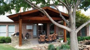 Pergola covering patio