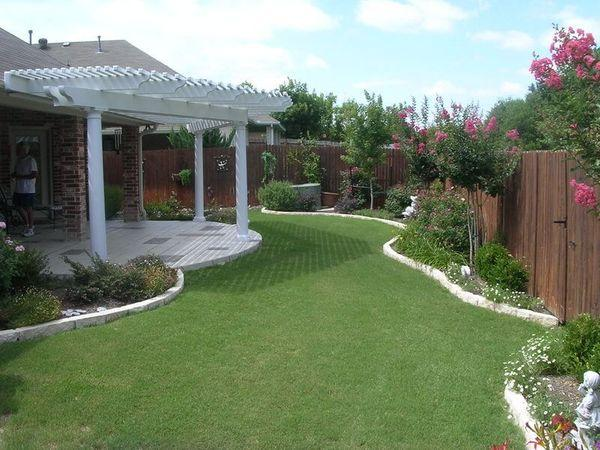 Maintained backyard with green grass and flowers