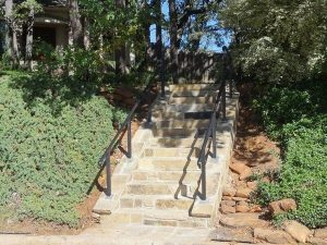Stone steps with iron railing