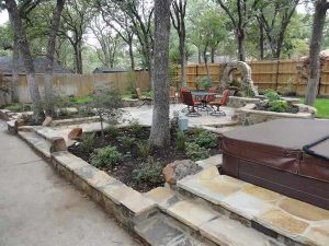 Beautiful backyard with stone patio