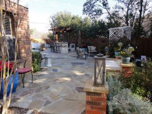 beautifully laid stone with brick retaining walls