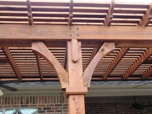 Up close to a wooden pergola