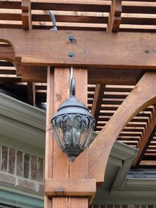 light fixture on a pergola