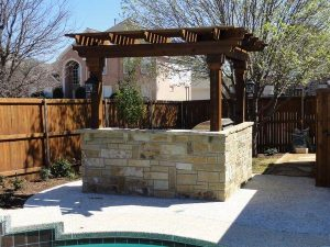 Outdoor kitchen design made of stone