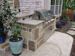 Custom built grill area on a patio