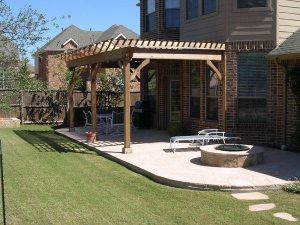 Perfect green grass and wooden pergola