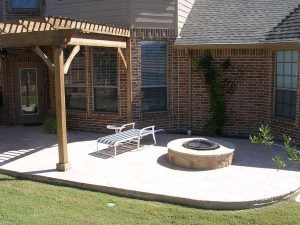 Back yard patio and custom built fire pit