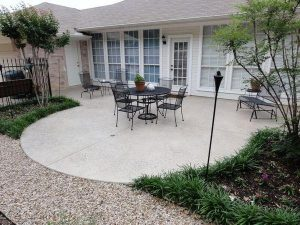 Backyard concrete patio