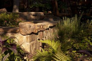 Beautiful landscaping with light fixture