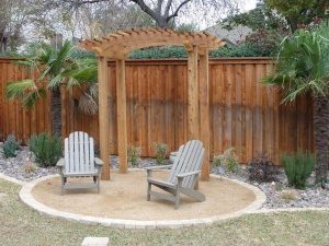 Cute seating area with wooden arc