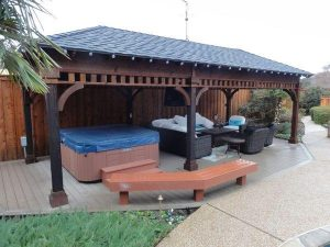 Covered backyard seating area