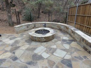 Fire pit and retaining wall made of stone