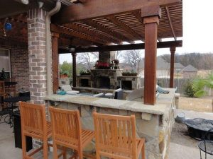Backyard kitchen with bar