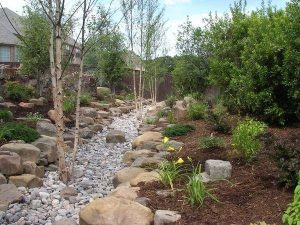 Rock creek bed with beautiful landscaping